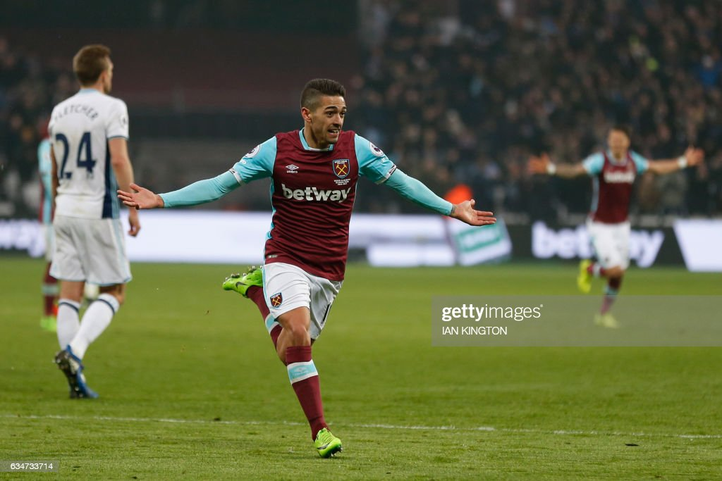 West Ham United's Argentinian midfielder Manuel Lanzini (C) celebrates after scoring their second goal during the English Premier League football match between West Ham United and West Bromwich Albion at The London Stadium, in east London on February 11, 2017. The game finished 2-2. / AFP / Ian KINGTON / RESTRICTED TO EDITORIAL USE. No use with unauthorized audio, video, data, fixture lists, club/league logos or 'live' services. Online in-match use limited to 75 images, no video emulation. No use in betting, games or single club/league/player publications. /
