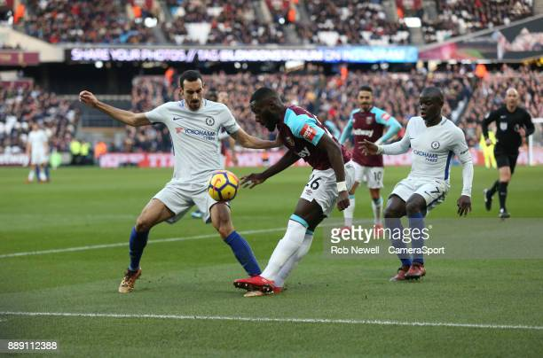 West Ham United's Arthur Masuaku and Chelsea's Davide Zappacosta during the Premier League match between West Ham United and Chelsea at London...