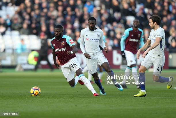 West Ham United's Arthur Masuaku and Chelsea's Tiemoue Bakayoko during the Premier League match between West Ham United and Chelsea at London Stadium...