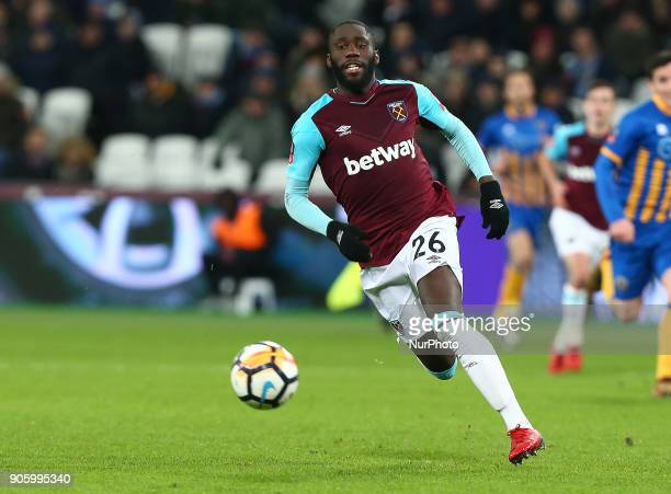 West Ham United's Arthur Masuaku during FA Cup 3rd Round reply match between West Ham United against Shrewsbury Town at The London Stadium Queen...