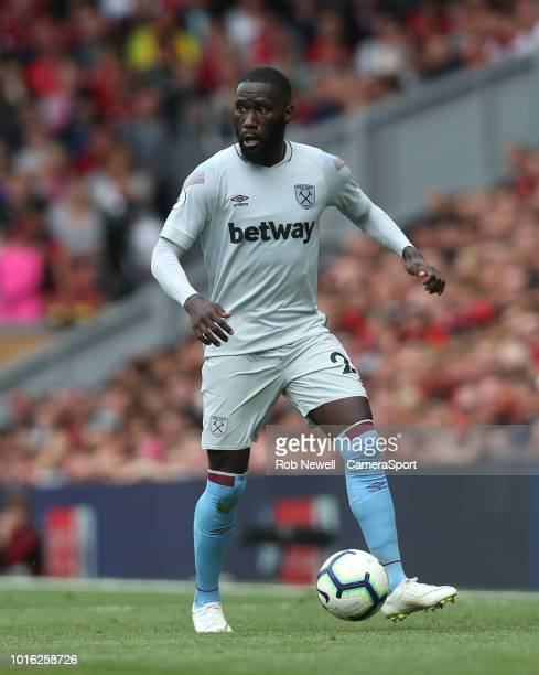 West Ham United's Arthur Masuaku during the Premier League match between Liverpool FC and West Ham United at Anfield on August 12 2018 in Liverpool...