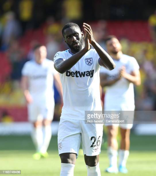 West Ham United's Arthur Masuaku during the Premier League match between Watford FC and West Ham United at Vicarage Road on August 24, 2019 in...