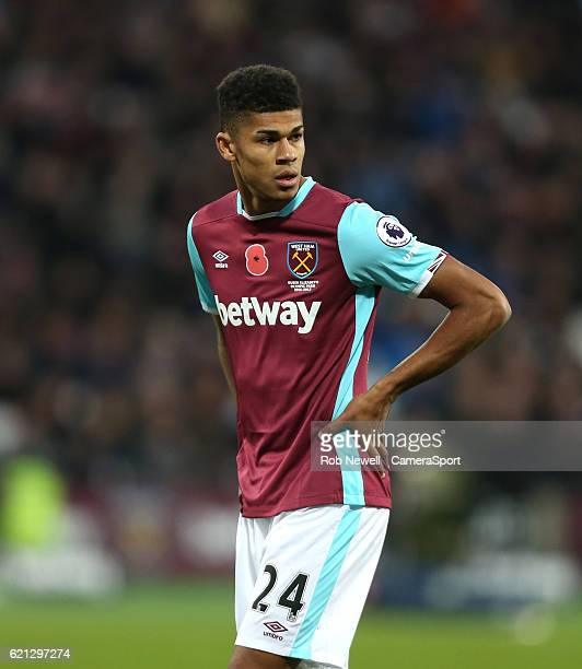 West Ham United's Ashley Fletcher during the Premier League match between West Ham United and Stoke City at Olympic Stadium on November 5 2016 in...