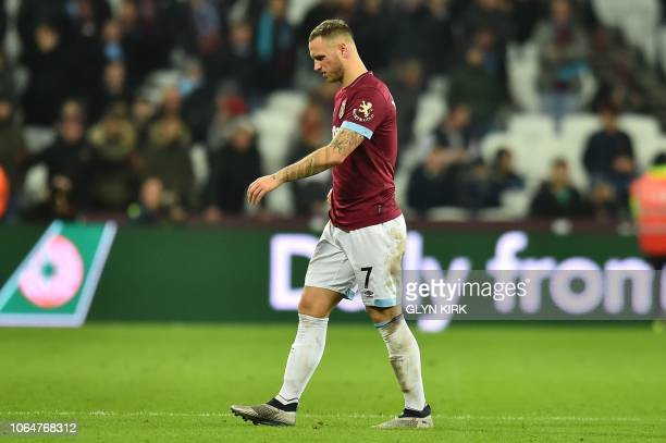 West Ham United's Austrian midfielder Marko Arnautovic leaves the pitch during the English Premier League football match between West Ham United and...