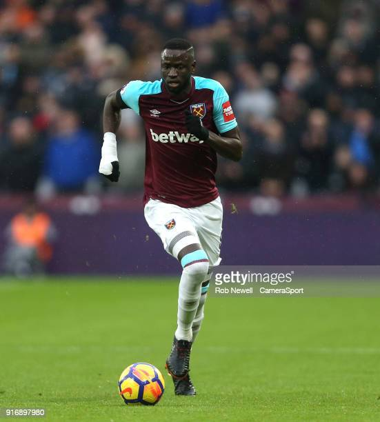 West Ham United's Cheikhou Kouyate during the Premier League match between West Ham United and Watford at London Stadium on February 10 2018 in...