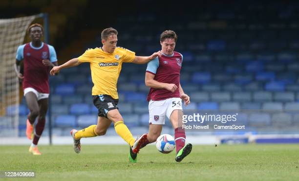 West Ham Uniteds Conor Coventry and Southend United's Matt Rush during the EFL Trophy Southern Section Group A match between Southend United and West...
