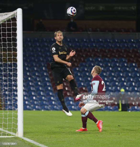 West Ham United's Craig Dawson clears from Burnley's Matej Vydra during the Premier League match between Burnley and West Ham United at Turf Moor on...