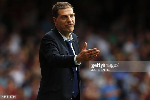 West Ham United's Croatian manager Slaven Bilic gestures during the English Premier League football match between West Ham United and Leicester City...