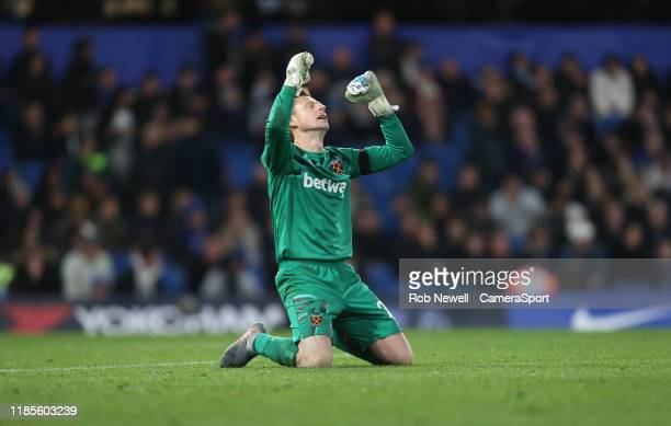 West Ham United's David Martin celebrates at the end of the game during the Premier League match between Chelsea FC and West Ham United at Stamford...