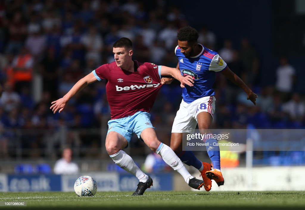 West Ham United's Declan Rice and Ipswich Town's Grant Ward during the match between Ipswich Town and West Ham United at Portman Road on July 28, 2018 in Ipswich, England.