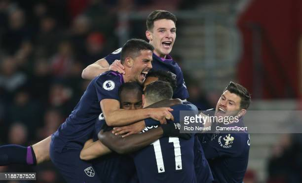 West Ham United's Declan Rice Pablo Fornals Michail Antonio Robert Snodgrass and Aaron Cresswell celebrate but Antonio's goal was ruled out after VAR...
