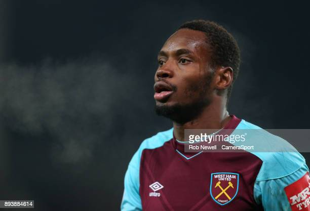 West Ham United's Diafra Sakho during the Premier League match between Stoke City and West Ham United at Bet365 Stadium on December 16 2017 in Stoke...