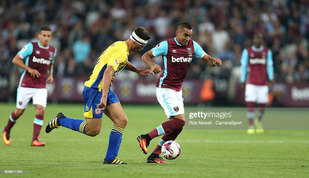 West Ham United's Dimitri Payet during the EFL Cup Third Round match between West Ham United and Accrington Stanley at London Stadium on September 21, 2016 in Stratford, England.