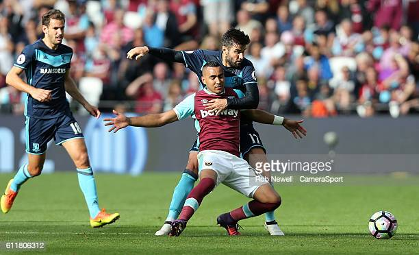 West Ham United's Dimitri Payet is taken down by Middlesbrough's Antonio Barragan during the Premier League match between West Ham United and...