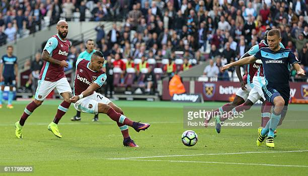 West Ham United's Dimitri Payet scores his sides first goal during the Premier League match between West Ham United and Middlesbrough at Olympic...