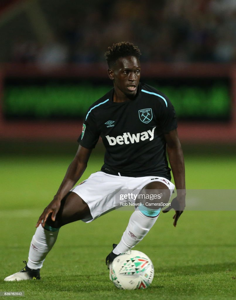 West Ham United's Domingos Quina during the Carabao Cup Second Round match between Cheltenham Town and West Ham United at Whaddon Road on August 23, 2017 in Cheltenham, England.
