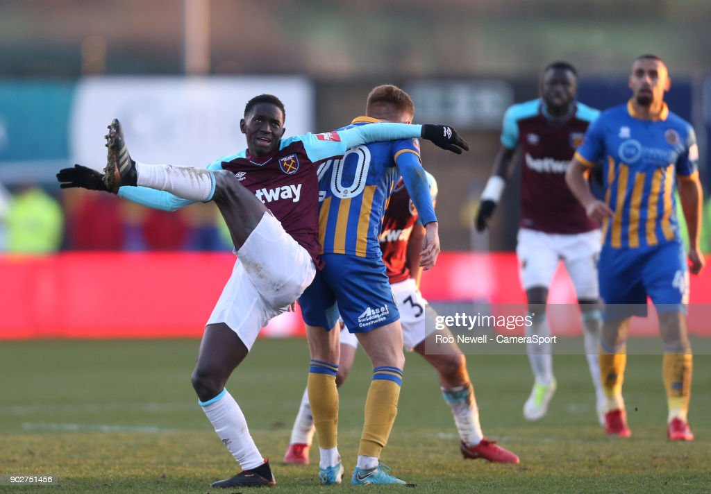 West Ham United's Domingos Quina during the Emirates FA Cup Third Round match between Shrewsbury Town and West Ham United at New Meadow on January 7, 2018 in Shrewsbury, England.