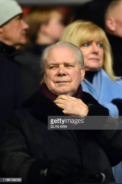 West Ham United's English Chairman David Gold takes his seat for the English Premier League football match between Southampton and West Ham United at...