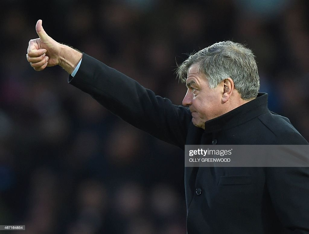 West Ham United's English manager Sam Allardyce gestures during the English Premier League football match between West Ham United and Sunderland at the Boleyn Ground in Upton Park, East London on March 21, 2015. West Ham won the game 1-0.