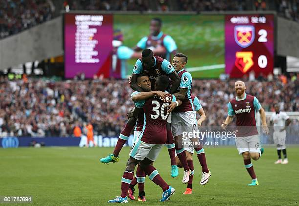 West Ham United's English midfielder Michail Antonio celebrates scoring his team's second goal during the English Premier League football match...