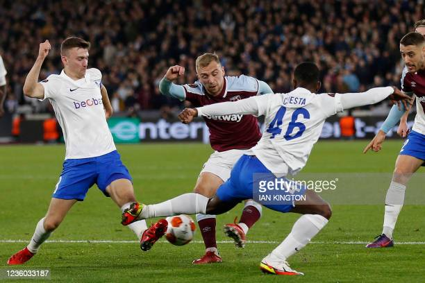 West Ham United's English striker Jarrod Bowen has this shot blocked during the UEFA Europa League group H football match between West Ham United and...