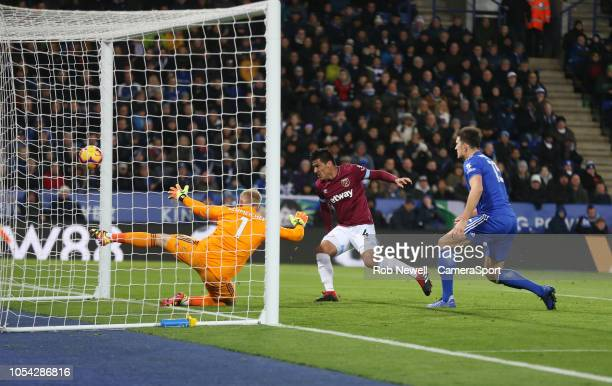 West Ham United's Fabian Balbuena scores his side's first goal during the Premier League match between Leicester City and West Ham United at The King...