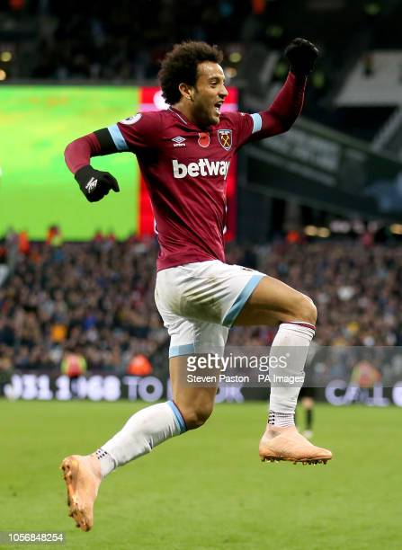 West Ham United's Felipe Anderson celebrates scoring his side's second goal of the game during the Premier League match at The London Stadium London
