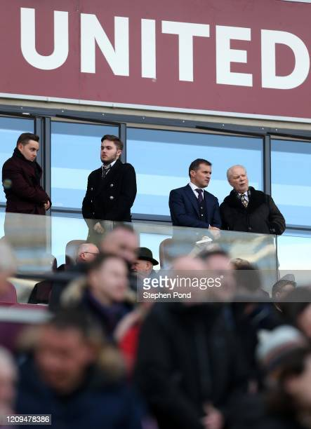West Ham United's Jack Sullivan and West Ham United's Chairman David Gold look on during the Premier League match between West Ham United and...