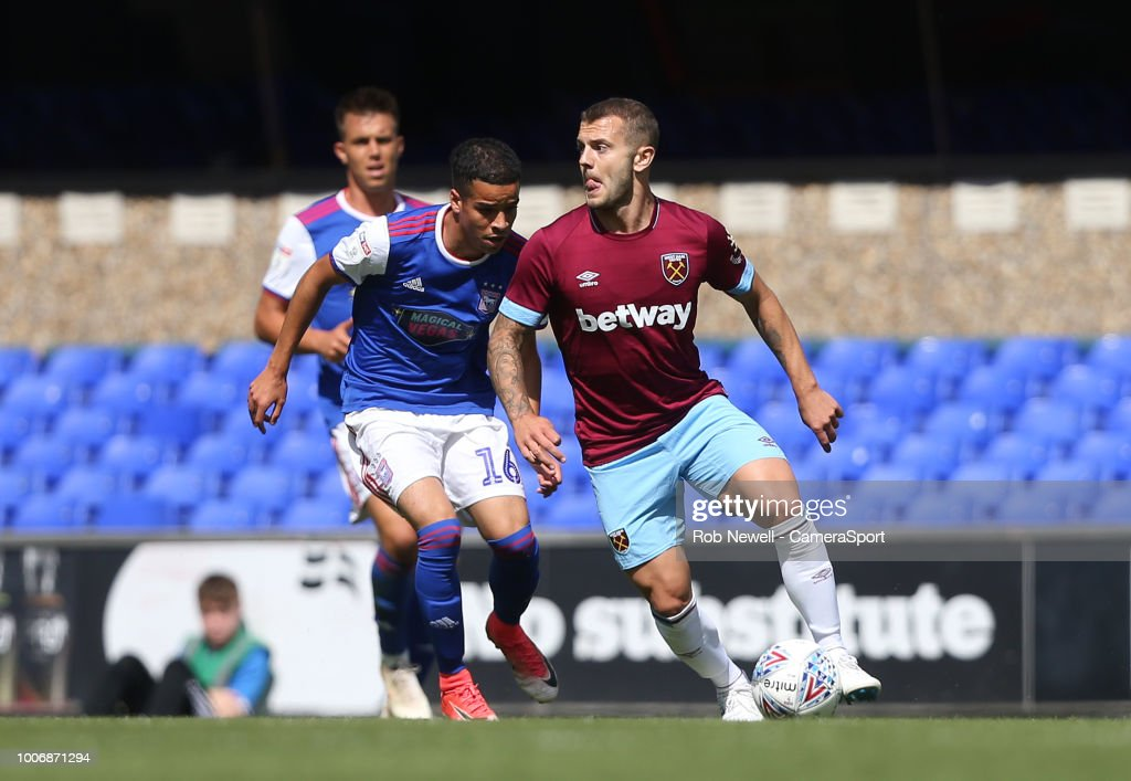 West Ham United's Jack Wilshere and Ipswich Town's Tristan Nydam during the match between Ipswich Town and West Ham United at Portman Road on July 28, 2018 in Ipswich, England.