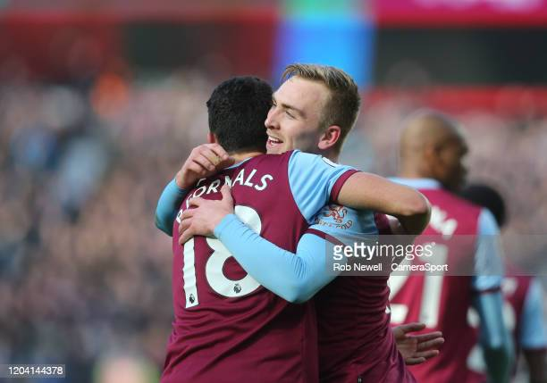 West Ham United's Jarrod Bowen celebrates scoring his side's first goal with Pablo Fornals during the Premier League match between West Ham United...