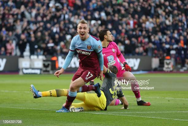 West Ham United's Jarrod Bowen celebrates scoring his side's first goal during the Premier League match between West Ham United and Southampton FC at...