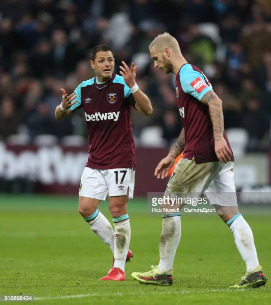 West Ham United's Javier Hernandez and Marko Arnautovic during the Premier League match between West Ham United and Watford at London Stadium on...