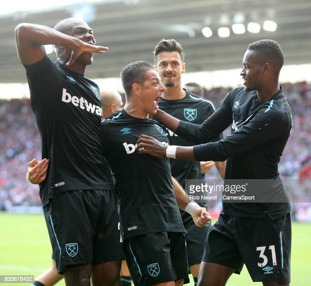 West Ham United's Javier Hernandez celebrates scoring his sides second goal during the Premier League match between Southampton and West Ham United...