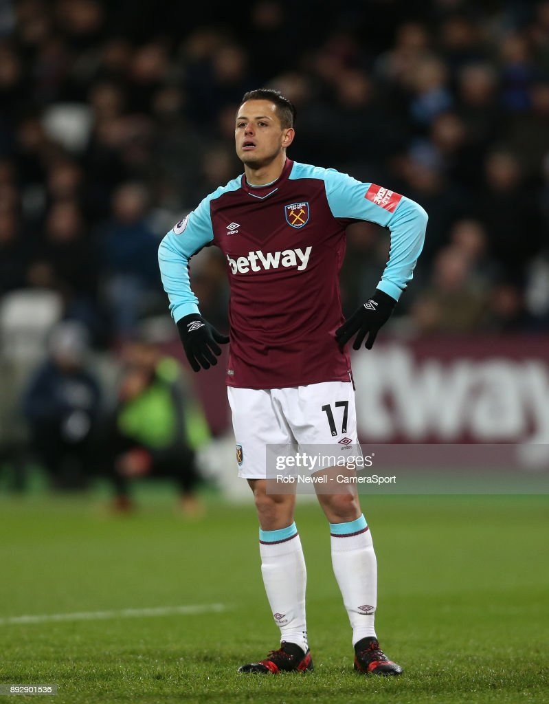 West Ham United's Javier Hernandez during the Premier League match between West Ham United and Arsenal at London Stadium on December 13, 2017 in London, England.