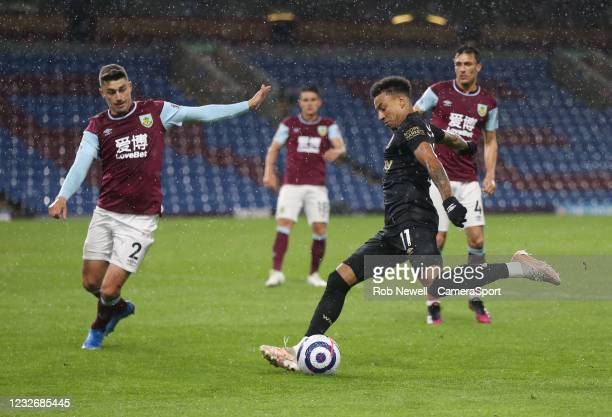 West Ham United's Jesse Lingard and Burnley's Matthew Lowton during the Premier League match between Burnley and West Ham United at Turf Moor on May...