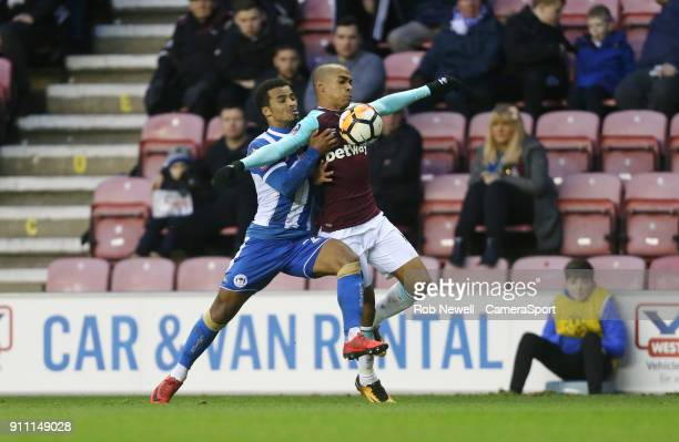 West Ham United's Joao Mario and Wigan Athletic's Nathan Byrne during the The Emirates FA Cup Fourth Round match between Wigan Athletic and West Ham...