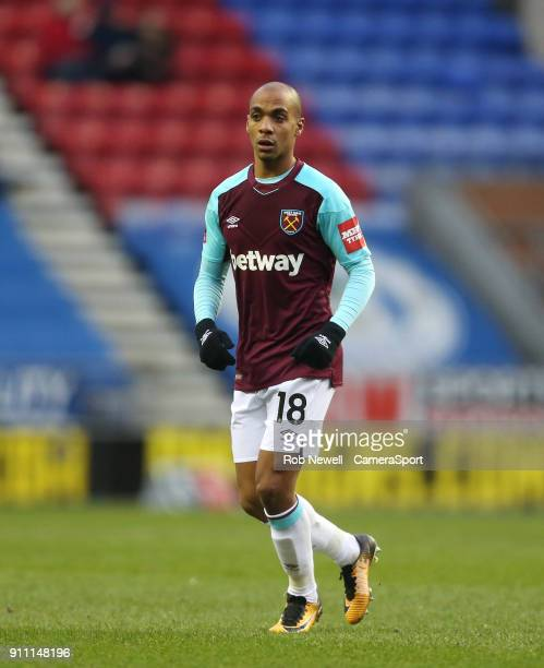 West Ham United's Joao Mario during the The Emirates FA Cup Fourth Round match between Wigan Athletic and West Ham United at DW Stadium on January 27...