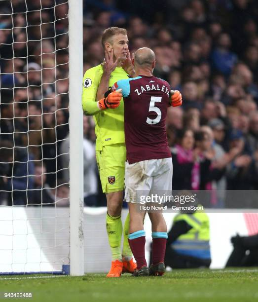 West Ham United's Joe Hart is congratulated by Pablo Zabaleta after a second half save during the Premier League match between Chelsea and West Ham...