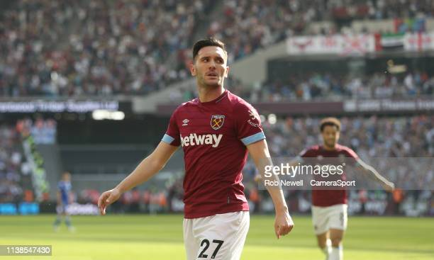 West Ham United's Lucas Perez celebrates scoring his side's second goal during the Premier League match between West Ham United and Leicester City at...
