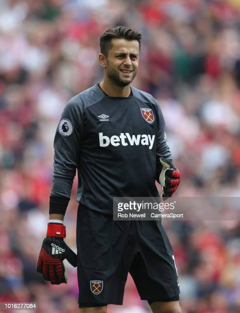 West Ham United's Lukasz Fabianski during the Premier League match between Liverpool FC and West Ham United at Anfield on August 12 2018 in Liverpool...
