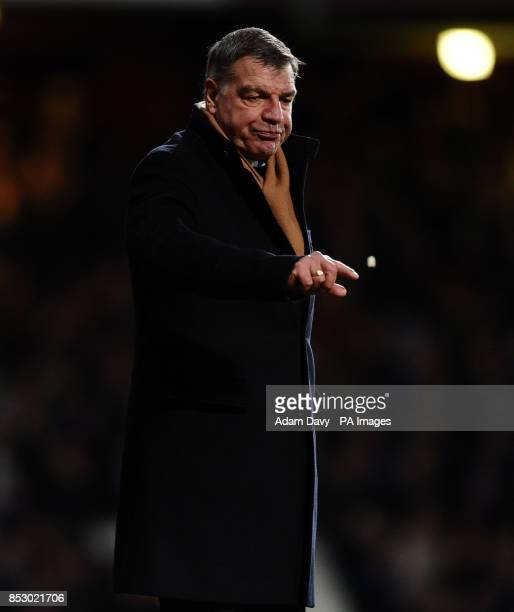 West Ham United's Manager Sam Alladyce throws his chewing gum away during the Barclays Premier League match at Upton Park London