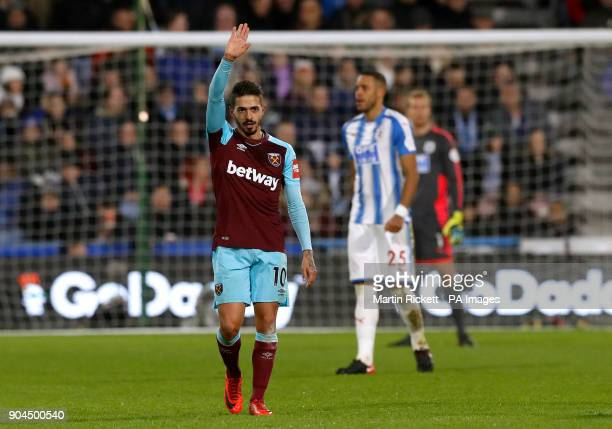 West Ham United's Manuel Lanzini celebrates scoring his side's third goal of the game during the Premier League match at the John Smith's Stadium...