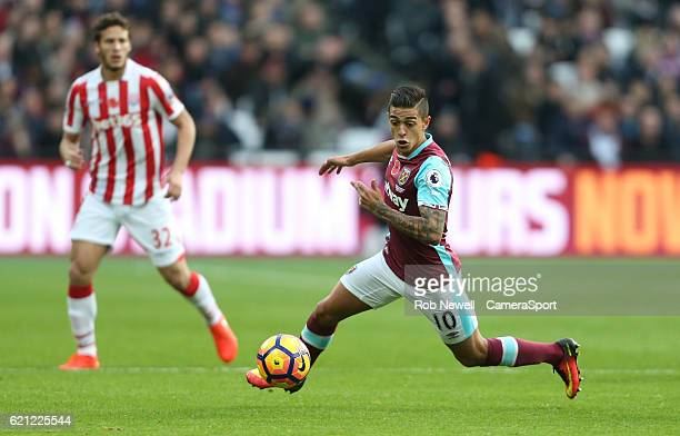 West Ham United's Manuel Lanzini during the Premier League match between West Ham United and Stoke City at Olympic Stadium on November 5 2016 in...