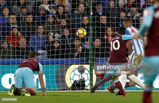 West Ham United's Manuel Lanzini scores his side's fourth goal of the game during the Premier League match at the John Smith's Stadium Huddersfield