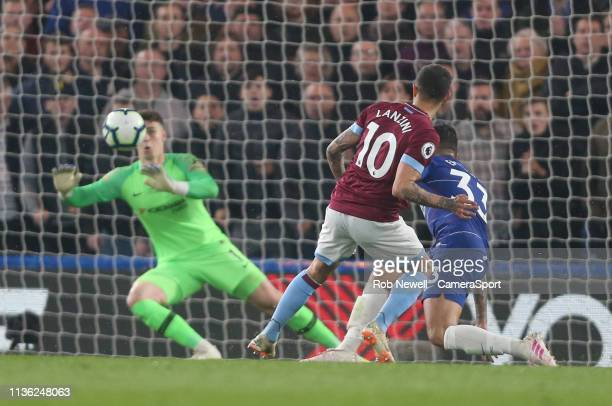 West Ham United's Manuel Lanzini sees his shot saved by Chelsea's Kepa Arrizabalaga during the Premier League match between Chelsea FC and West Ham...