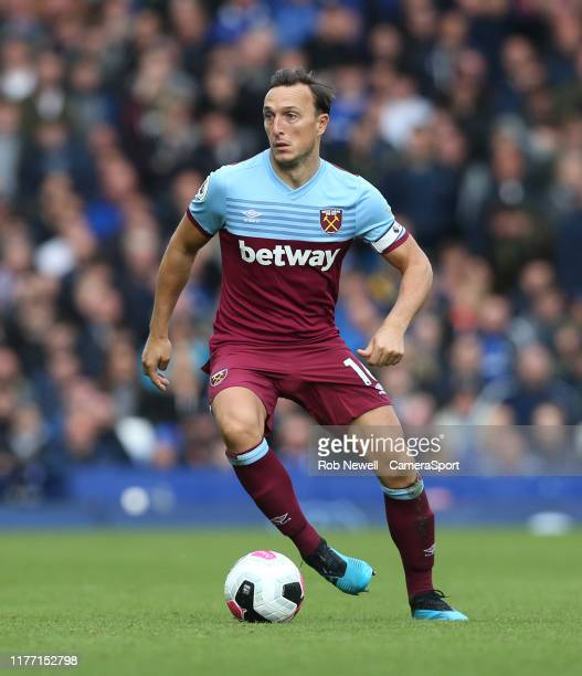West Ham United's Mark Noble during the Premier League match between Everton FC and West Ham United at Goodison Park on October 19 2019 in Liverpool...