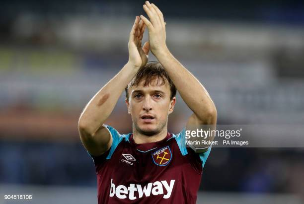 West Ham United's Mark Noble reacts after the final whistle during the Premier League match at the John Smith's Stadium Huddersfield