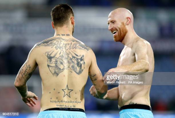 West Ham United's Marko Arnautovic and West Ham United's James Collins react after the final whistle during the Premier League match at the John...
