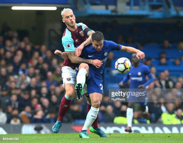 West Ham United's Marko Arnautovic beats Chelsea's Cesar Azpilicueta during English Premier League match between Chelsea and West Ham United at...