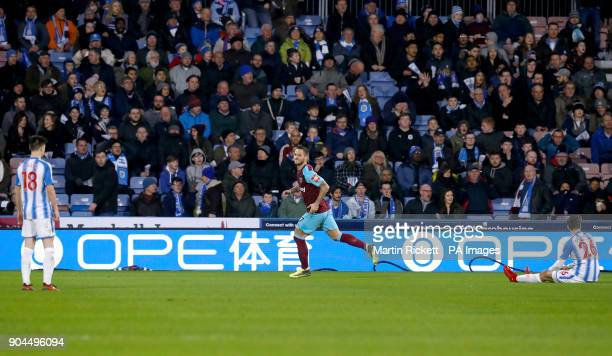 West Ham United's Marko Arnautovic celebrates scoring his side's second goal of the game during the Premier League match at the John Smith's Stadium...